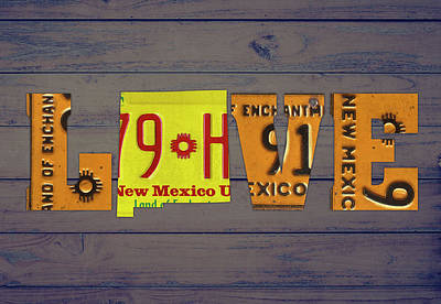 New Mexico Mixed Media - New Mexico State Love Heart License Plates Art Phrase by Design Turnpike