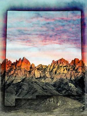 Mountain Sunset Mixed Media - New Mexico The Beautiful by Barbara Chichester