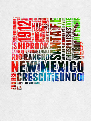 Mexico Digital Art - New Mexico Watercolor Word Map by Naxart Studio