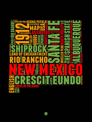State Of New Mexico Digital Art - New Mexico Word Cloud Map 1 by Naxart Studio