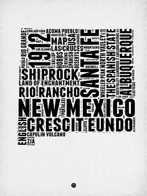 Modern Poster Digital Art - New Mexico Word Cloud Map 2 by Naxart Studio