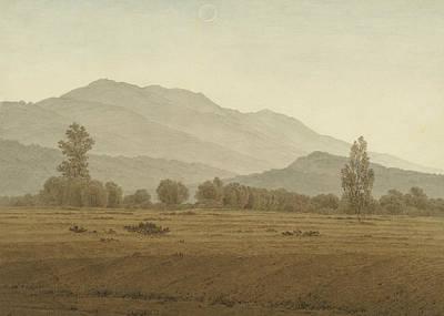 Caspar Painting - New Moon Above The Riesengebirge Mountains by Caspar David Friedrich