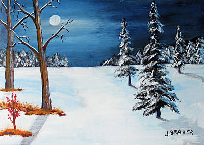 Painting - New Moon New Snow by Jack G Brauer