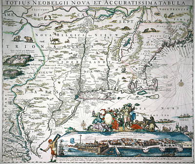 Photograph - New Netherland Map by Granger