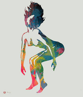 Hop Drawing - New Nude Dancing  Pop Art Poster - 1 by Kim Wang
