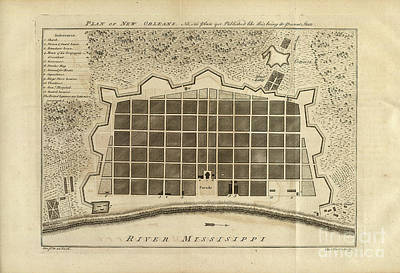 New Orleans Drawing - New Orleans 1770 by Baltzgar