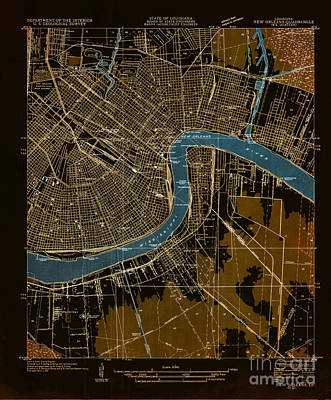 Mississippi River Digital Art - New Orleans 1932 - Historical Map by Pablo Franchi
