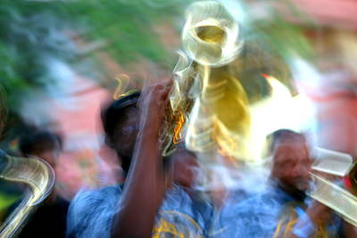 Photograph - New Orleans Abstract Street Jazz Performance by Michael Hoard