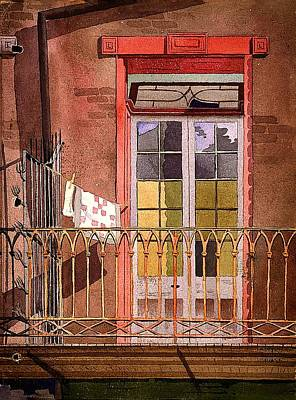 Laundry Painting - New Orleans - Balcony With Laundry - Galley House by Mountain Dreams