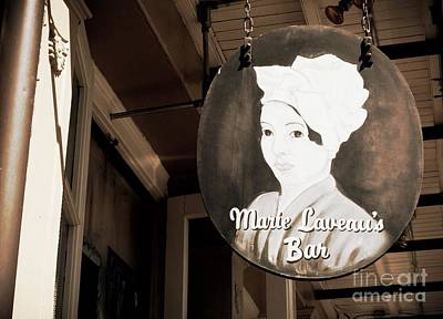 Photograph - New Orleans Bar Sign - Sepia by Carol Groenen