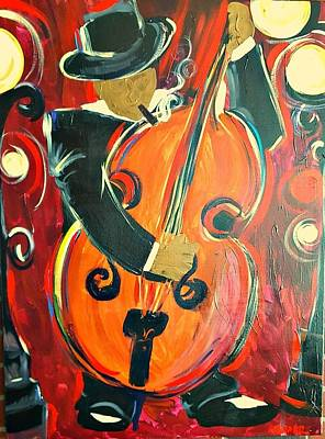 Painting - New Orleans Bass Player by Kerin Beard
