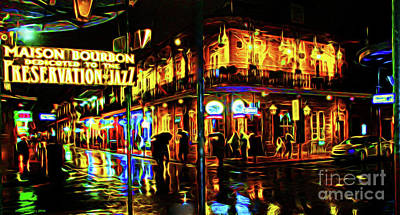 New Orleans Bourbon Street Art Print by Jerome Stumphauzer