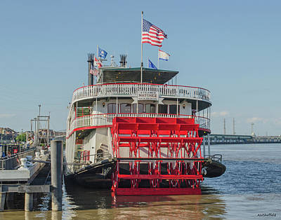 Photograph - New Orleans - Business End Of Natchez Paddlewheeler by Allen Sheffield