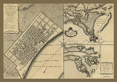 New Orleans Canal System And Environs Art Print by Pd