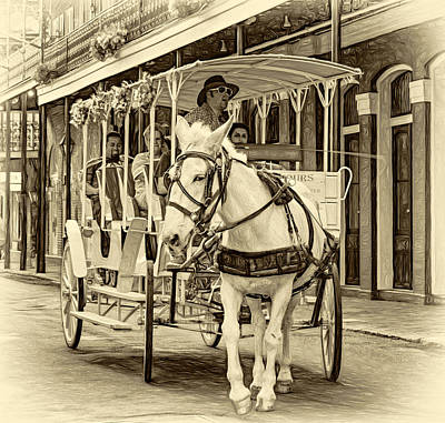 Nola Photograph - New Orleans - Carriage Ride 3 - Sepia by Steve Harrington