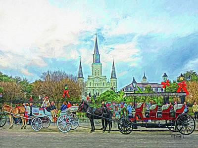 Digital Art - New Orleans - Christmas In Jackson Square by Rebecca Korpita