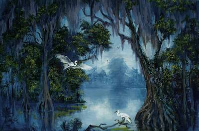 Cypress Swamp Painting - New Orleans City Park Blue Bayou by Saundra Bolen Samuel