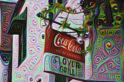 Coca Cola Sign Painting - New Orleans - Clover Grill by Bill Cannon