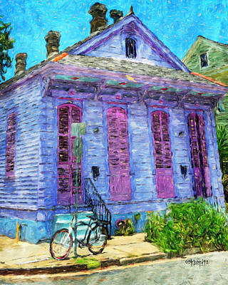 Creole Cottage Wall Art - Photograph - New Orleans Colorful House Bicycle by Rebecca Korpita