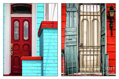 Photograph - New Orleans Doorways Diptych One by Kathleen K Parker