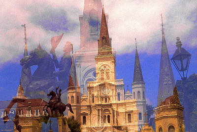 Saint Louis Mixed Media - New Orleans Fantasy Collage by Art America Gallery Peter Potter