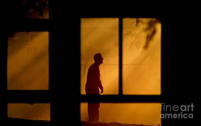 Photograph - New Orleans Fire Watcher Thru The Window Panes by Michael Hoard