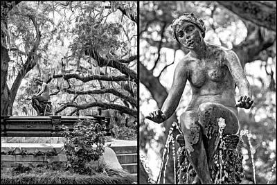 Photograph - New Orleans Fountain Diptych Bw by Steve Harrington