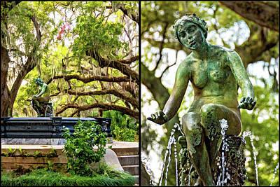 Photograph - New Orleans Fountain Diptych by Steve Harrington