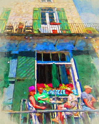 Photograph - New Orleans French Quarter Outdoor Cafe Scene by Rebecca Korpita
