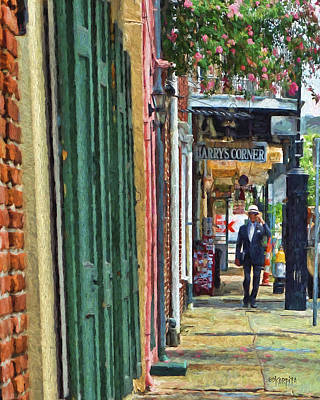 Photograph - New Orleans French Quarter Street Scene - Harrys Corner Bar by Rebecca Korpita