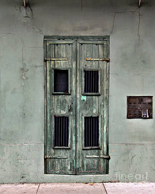 Jazz Photos - New Orleans Green Doors by Perry Webster