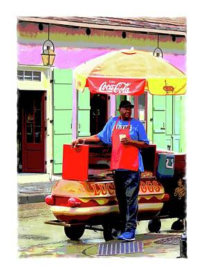 Eduardo Tavares Painting Royalty Free Images - New Orleans Hotdog Vendor Royalty-Free Image by Eduardo Tavares