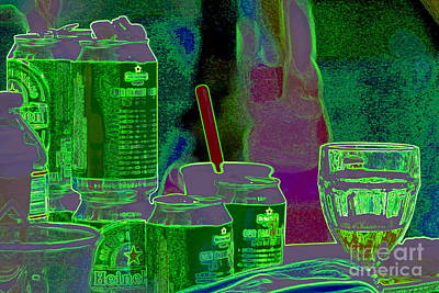 Photograph - New Orleans St. Patrick's Day Irish Still Life Neon Abstract by Michael Hoard