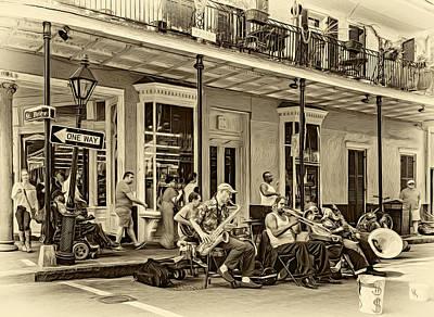 Street Musicians Digital Art - New Orleans Jazz 2 - Sepia by Steve Harrington