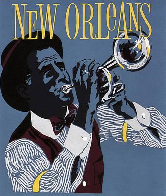New Orleans Jazz C. 1955 Art Print by Daniel Hagerman