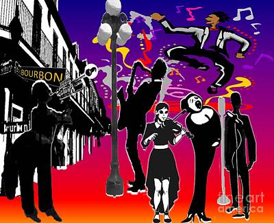 Drawing - New Orleans Jazz In The Street by Belinda Threeths