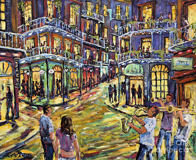 Canadiens Painting - New Orleans Jazz Night By Prankearts Fine Art by Richard T Pranke