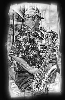 Shirt Digital Art - New Orleans Jazz Sax 3 Bw by Steve Harrington