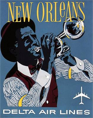 Royalty-Free and Rights-Managed Images - New Orleans Jazz - Vintage Illustrated Poster in Blue by Studio Grafiikka