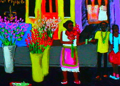 Mardi Gras Painting - New Orleans Lady Selling Flowers by Angela Annas