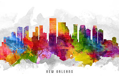 Towns Digital Art - New Orleans Louisiana Cityscape 13 by Aged Pixel