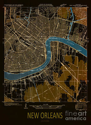 Jazz Royalty-Free and Rights-Managed Images - New Orleans Map 1932 by Drawspots Illustrations