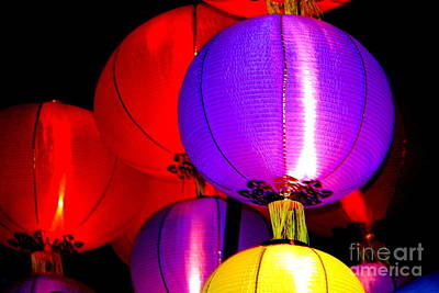 Photograph - New Orleans Mardi Gras Float Chinese Lanterns Orpheus Parade Lundi Gras by Michael Hoard