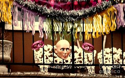 Photograph - New Orleans Mardi Gras Masked Balcony In The Garden District by Michael Hoard
