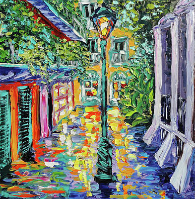 New Orleans Oil Painting - New Orleans Oil Painting - Pirate's Alley Garden by Beata Sasik