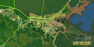 Handcrafted Digital Art - New Orleans Old Map Green Abstract by Pablo Franchi