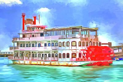 Photograph - New Orleans Paddle Steamer Pop Art by David Pyatt