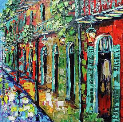 New Orleans Oil Painting - New Orleans Painting - Glowing Lanterns by Beata Sasik
