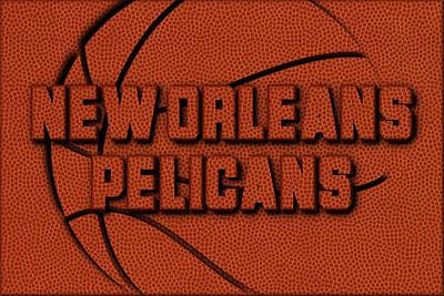 New Orleans Pelicans Leather Art Art Print by Joe Hamilton