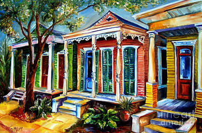 New Orleans Shotgun Houses Painting - New Orleans Plain And Fancy by Diane Millsap